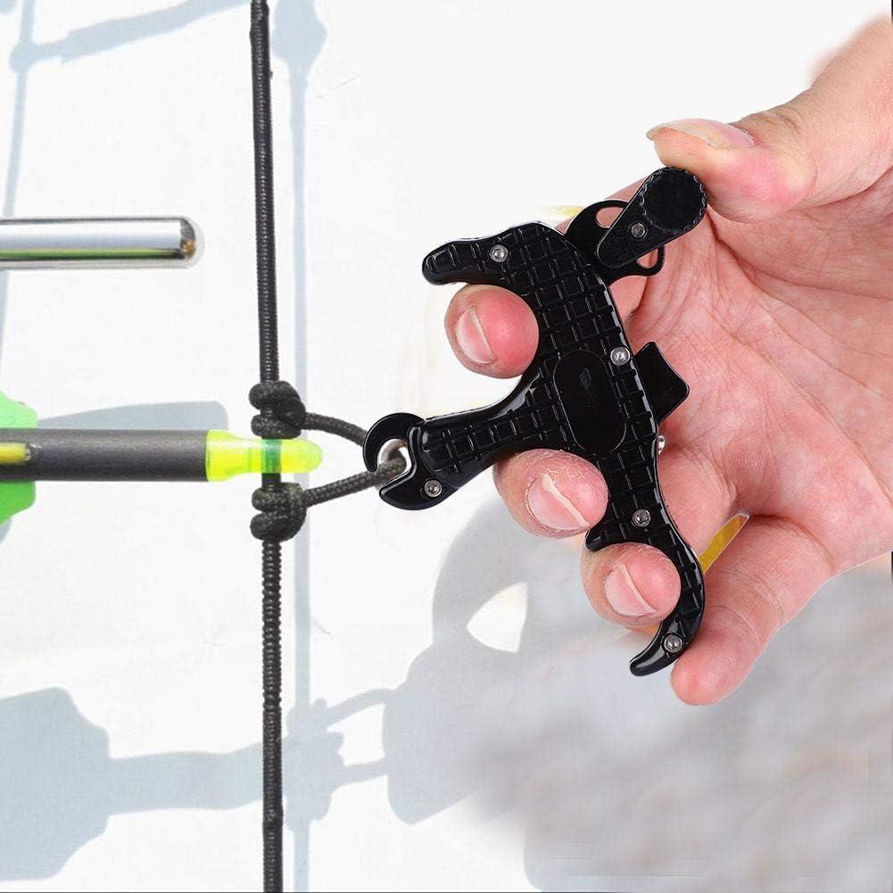 Disparador de Disparos de Tiro al Arco Aleaci/ón de Aluminio 3 Dedos de la bisagra del Arco Disparador de Lanzamiento Asistente Agarre Calibrador de Pulgar para Arco Compuesto