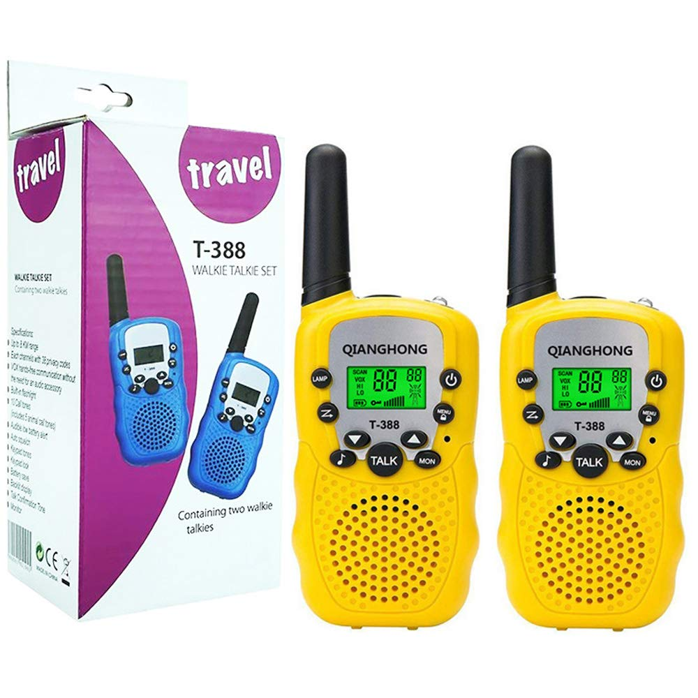 Qianghong T3 Kids Walkie Talkies 3-12 Year Old Children's Outdoor Toys Mini Two Way Radios UHF 462-467 MHz Frequency 22 Channels -1 Pair Yellow by Qianghong (Image #1)