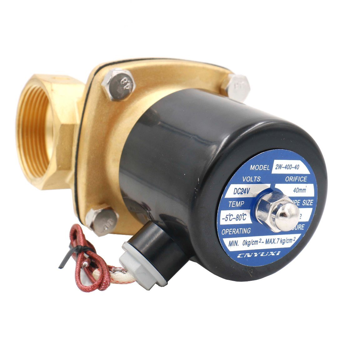 Baomain 1-1//2 inch DC 24V Brass Electric Solenoid Valve Water Air Fuels NC Valve