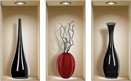 Vases rouges de roses Ensemble de 3 LNisha Art Magic vinyle 3D Autocollants mural amovible bricolage