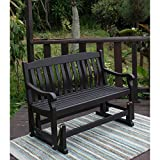 Delahey Patio Outdoor Porch Glider Bench, Dark Brown, Seats 2 For Sale
