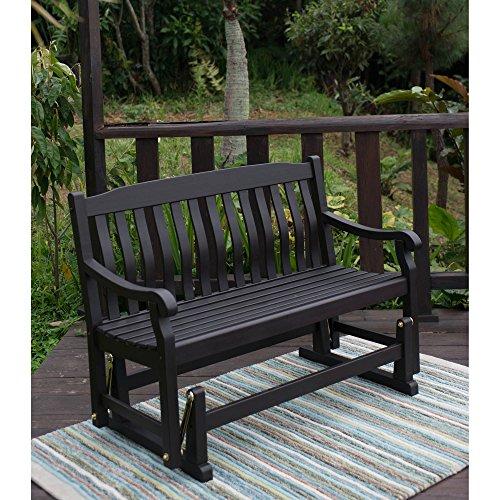Delahey Patio Outdoor Porch Glider Bench, Dark Brown, Seats 2 For Sale