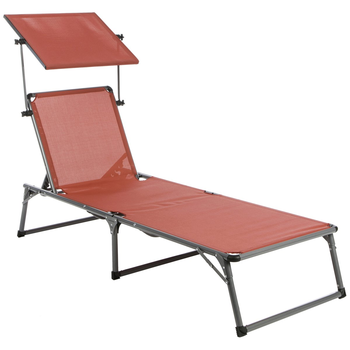Ultranatura Aluminium Sun Lounger Nizza with canopy - 76 x 26 x 12 inches (193 x 67 x 32 cm), Beige 20010000D63A