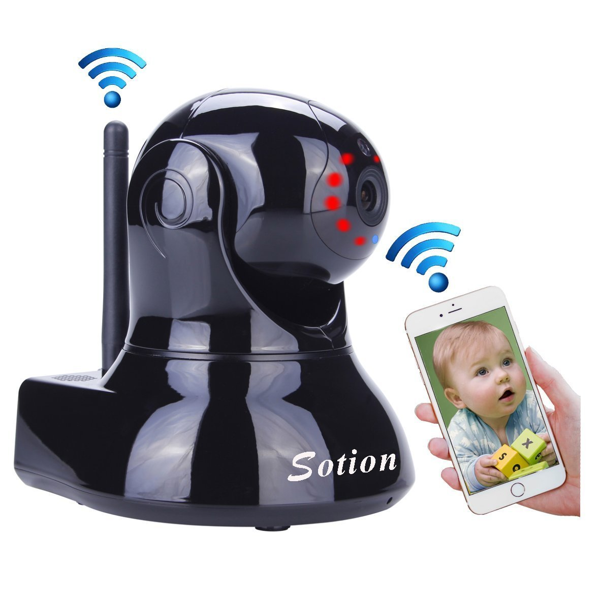 Sotion Super HD Wireless Security IP Camera, Internet Network Home Indoor Surveillance Cameras Monitoring System, Baby / Elder / Nanny / Pet Video Monitor with Pan & Tilt, Two Way Audio & Night Vision