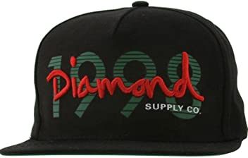 6fba4a0f Diamond Supply Co Men's 1998 OG Script Snapback Cap Black Green Red