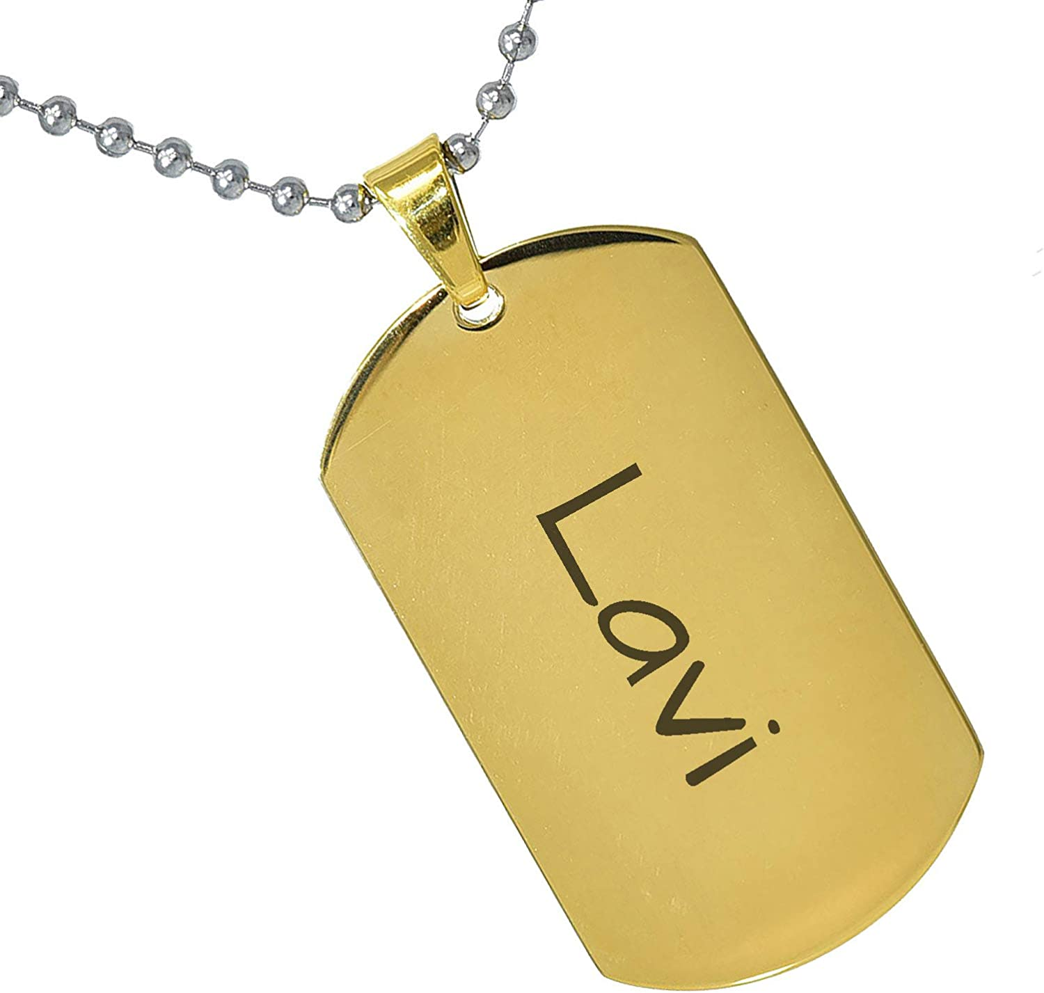 Stainless Steel Silver Gold Black Rose Gold Color Baby Name Lavi Engraved Personalized Gifts For Son Daughter Boyfriend Girlfriend Initial Customizable Pendant Necklace Dog Tags 24 Ball Chain