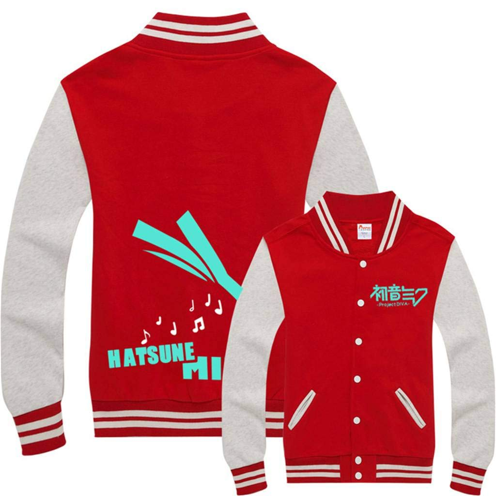 Gumstyle Hatsune Miku Anime Unisex Slim Fit Varsity Baseball Uniform Lightweight Jacket Sport Coat