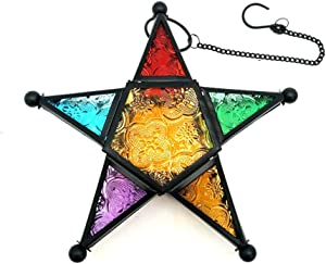 Modern Morocco Metal Art Candle Holders, Star Colorful Glass Christmas Holiday Home Wall Decor Lantern for Mantel Patio Garden with Hanging Loop- Black
