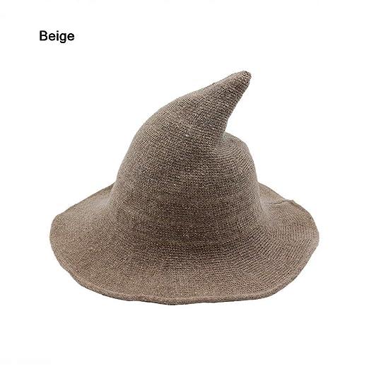 Colorcasa 2018 Modern Halloween Witch Hat Women Wool Wide-Brimmed Hat Cap  (Beige) 6007af1f727