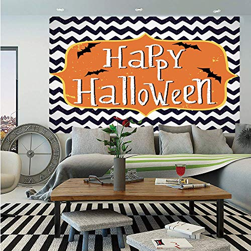 SoSung Halloween Wall Mural,Cute Halloween Greeting Card Inspired Design Celebration Doodle Chevron Decorative,Self-Adhesive Large Wallpaper for Home Decor 55x78 inches,Indigo White Orange