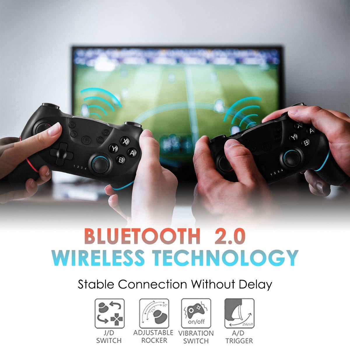 CHEREEKI Controller für Nintendo Switch, Wireless Gamepad Joystick für Switch mit Dual Shock Vibration und Turbo Funktion Achsen Gyroskop Gaming Controller (Rot & Blau)
