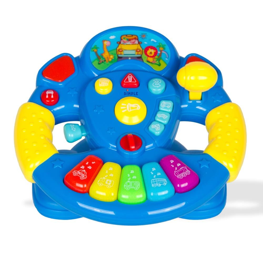Dimple Childrens Play Steering Wheel with a Ton of Buttons, Modes, Lights and Sounds