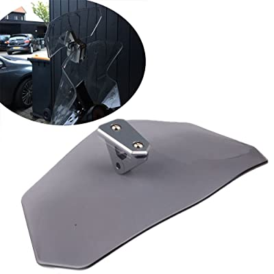 HOZAN Motorcycle Adjustable Windshields Gray Extension Clip on Spoiler Wind Deflector for Honda Suzuki Triumph BMW R1200GS: Automotive