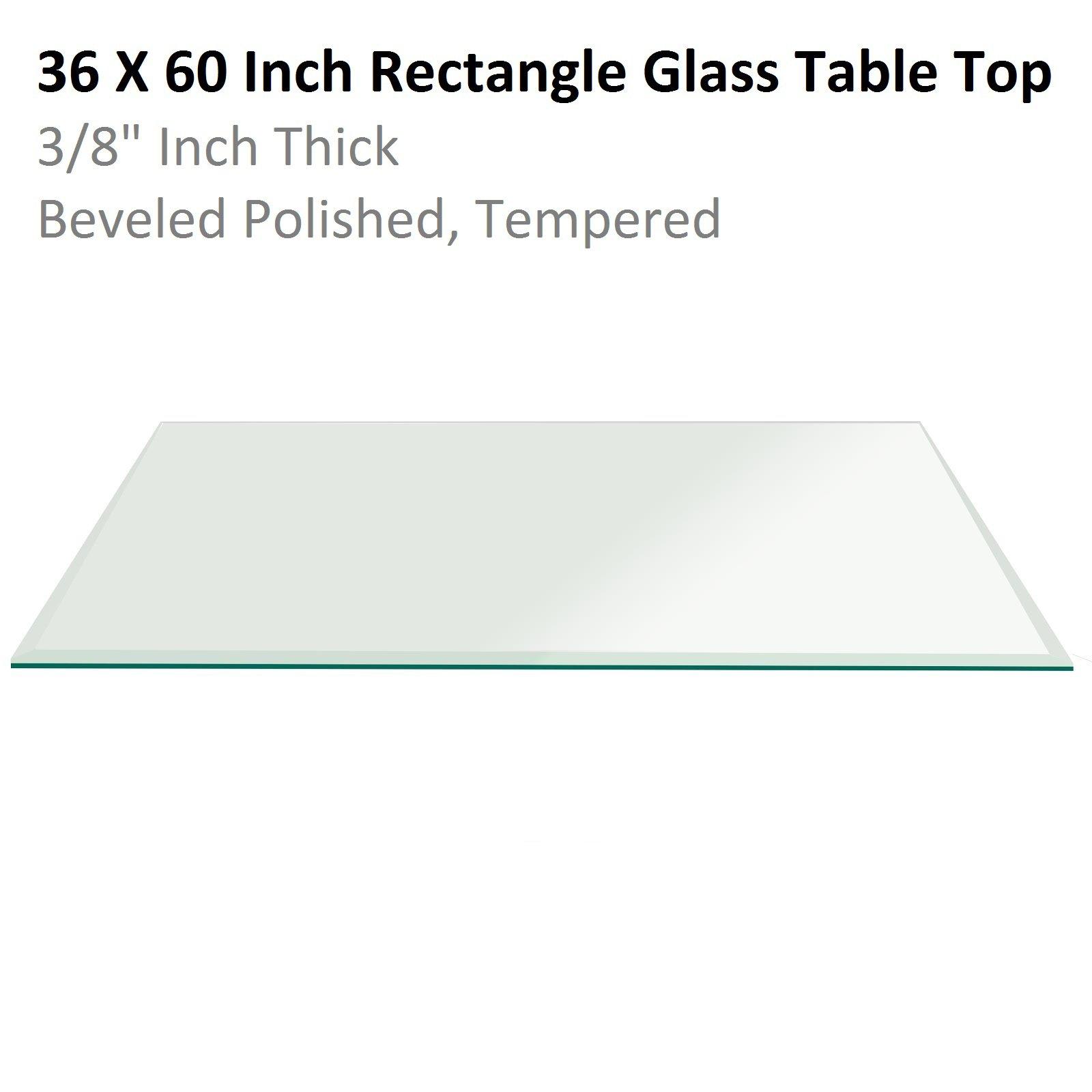 Fab Glass & Mirror Rectangle Glass 3/8'' Thick Bevel Tempered Radius Corners, 36'' L x 60'' W
