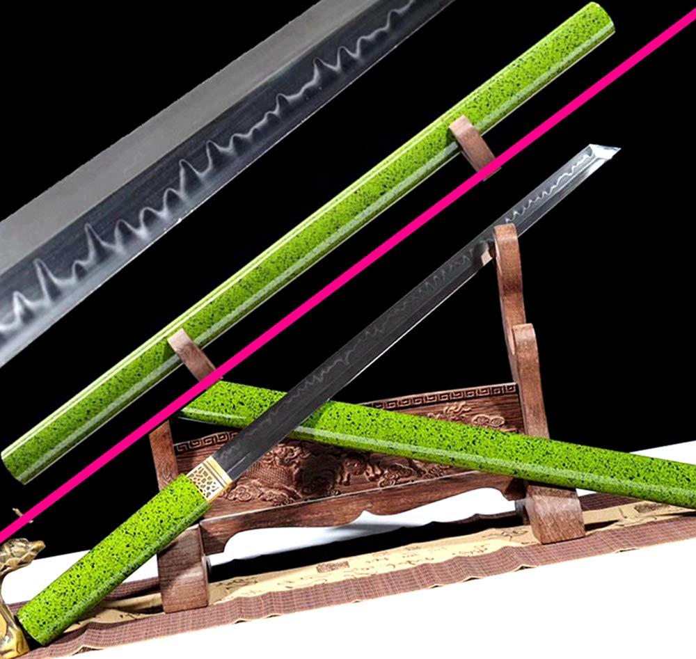 Battle Ready Clay Tempered Very Sharp Ninja Knife Saber T10 Steel Full Tang Japanese Wakizashi Dao Sword Katana by Generic