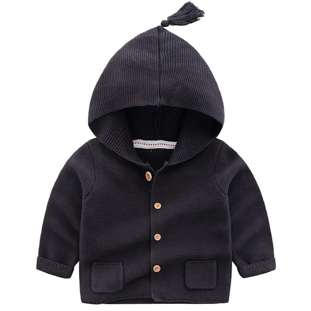 Happy childhood Baby Boys Hoodie Pocket Cardigan Sweaters Cotton Knitted Basic Sweater Casual Outwear