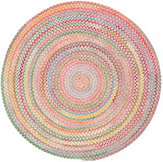 "product image for Capel Baby's Breath Pink 5' 6"" Round Braided Rug"