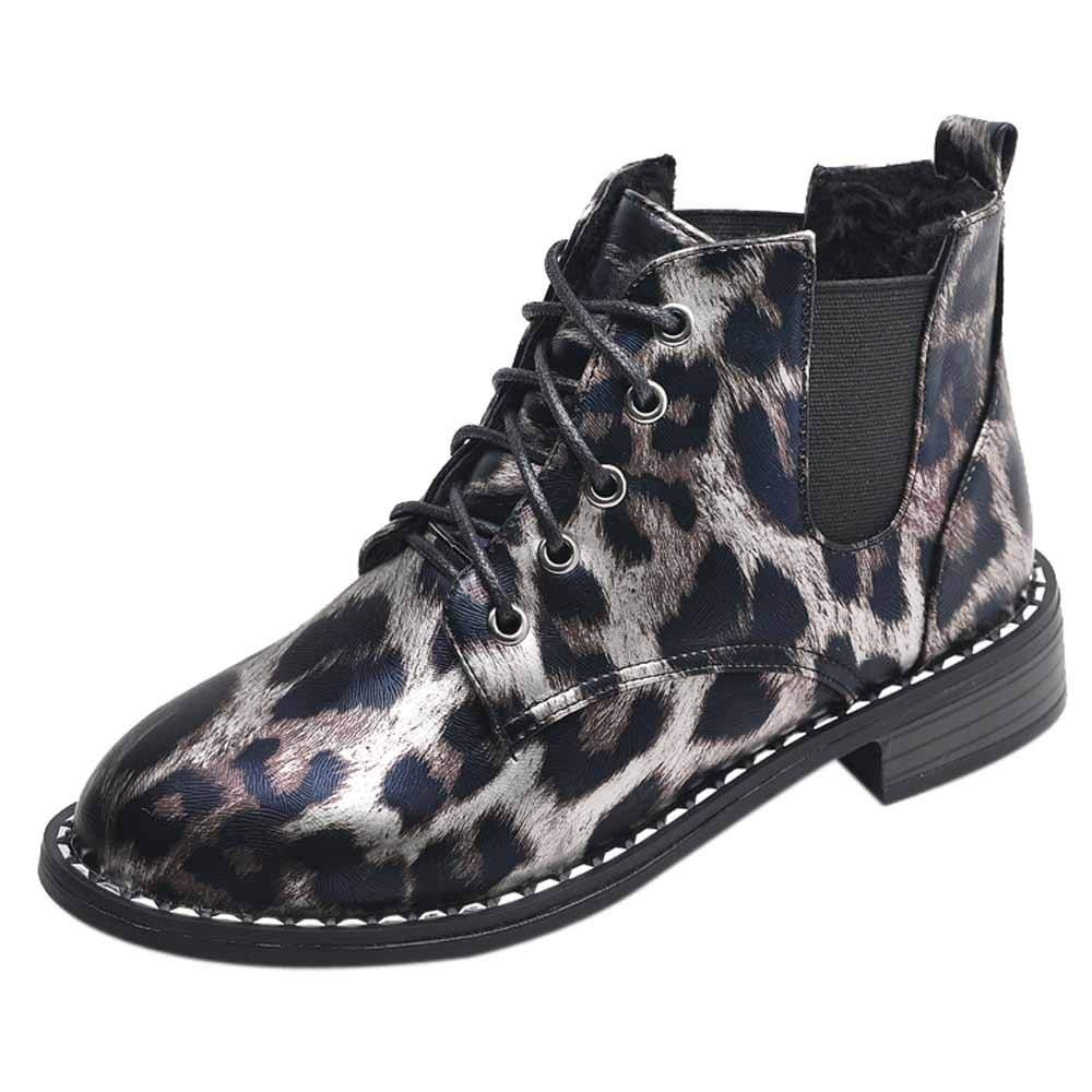 Logobeing Botas Mujer Invierno Botines Mujer Tacon Alto Plataforma Botas Mujer Cuñ as Casual Zapatos Botines de Encaje con Lazo de Mujer Botas Planas de Gamuza Un Solo Leopardo Zapatos