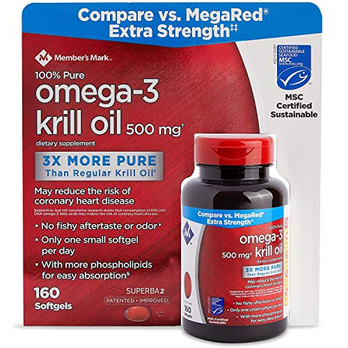 Member's Mark Extra Strength 100% Pure Omega-3 Krill Oil, 500mg 160 ct. (Pack of 3) A1 by Members Mark (Image #3)