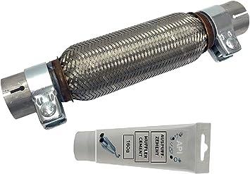 Flexrohr Universal Edelstahl Interlock 45 X 200 X 310mm Mit 2 Schellen Montage Ohne Schweißen Flexstück Wellrohr Hosenrohr Flexibles Rohr Inkl Montage Cement Paste 150g Auto