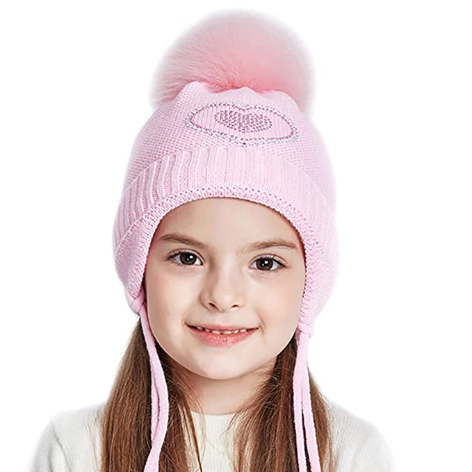 URSFUR Kids Winter Earflap Cap Girls Knit Peruvian Hat with Fox Fur Ball  Pom Warm Beanie fd9f941d36f