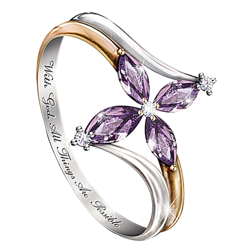 erDouckan Rings for Women/&with God All Things are Possible Lady Dual Color Faux Amethyst Cross Floral Ring,Delicate Rings Gift for Her.