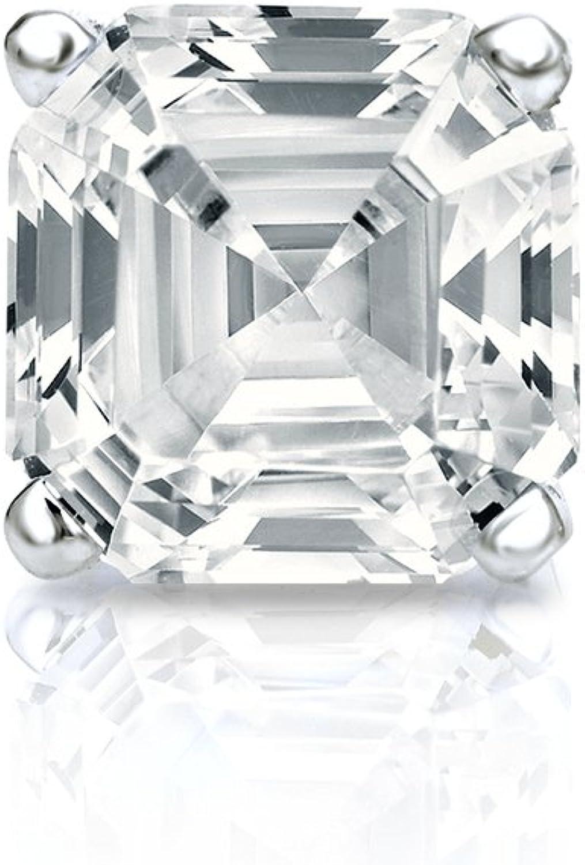 1//8-1ct,O.White,I1-I2 Push-Back 18k White Gold 4-Prong Basket Round Diamond Mens SINGLE STUD Earring