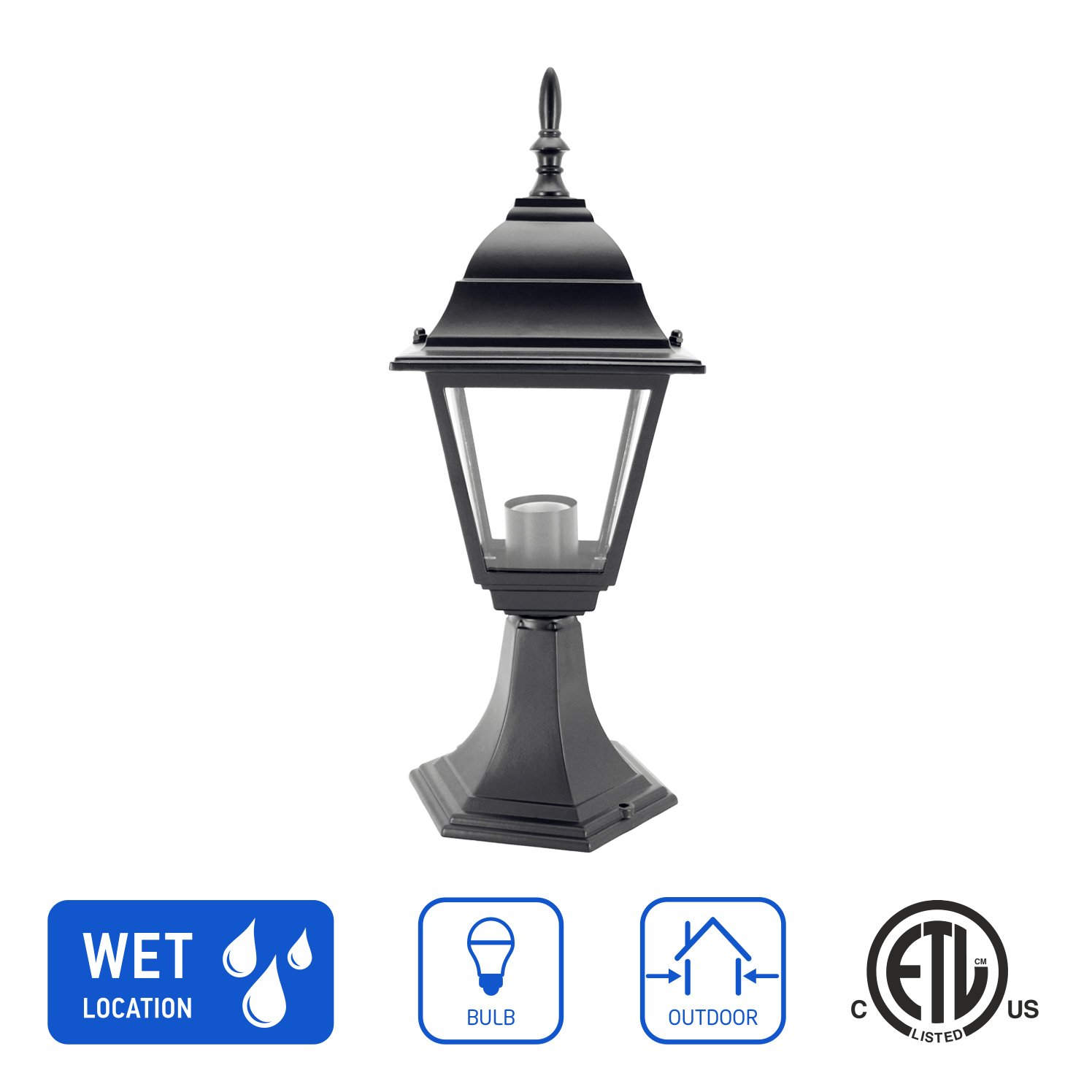 in Home 1-Light Outdoor Post Lantern L02 Series Traditional Design Black Finish Clear Glass Shade, ETL Listed