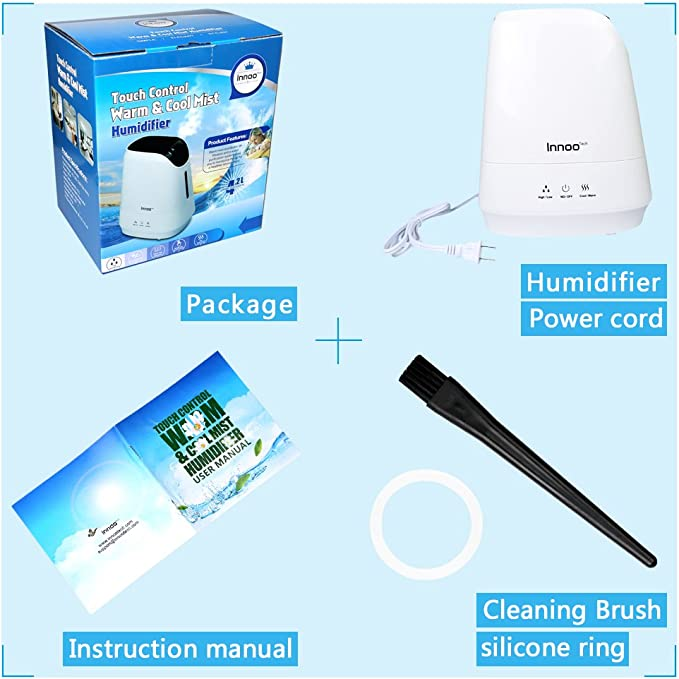 Innoo Tech 4.2L Warm & Cool Mist Humidifiers, Ultrasonic Air Purifier with Aromatherapy Touch Control   Whisper quiet Operation   Auto Shut off for