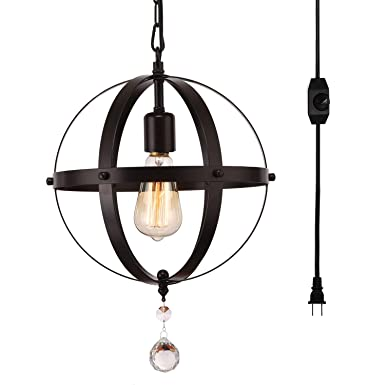 HMVPL Industrial Plug-in Spherical Pendant Lights with 16.4ft Hanging Cord and On Off Dimmer Switch, Metal Chandelier Orb Swag Ceiling Lighting Fixture for Kitchen Island Table Bedroom Entryway Foyer
