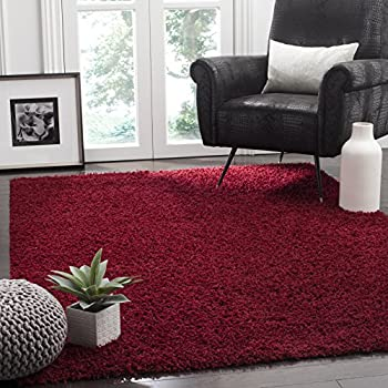 Safavieh Athens Shag Collection SGA119R Red Area Rug (3' x 5')