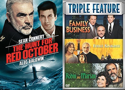 Connery Collection The Hunt for Red October + First Knight/Family Business & Robin and Marian 4 Film Sean DVD Movie Bundle