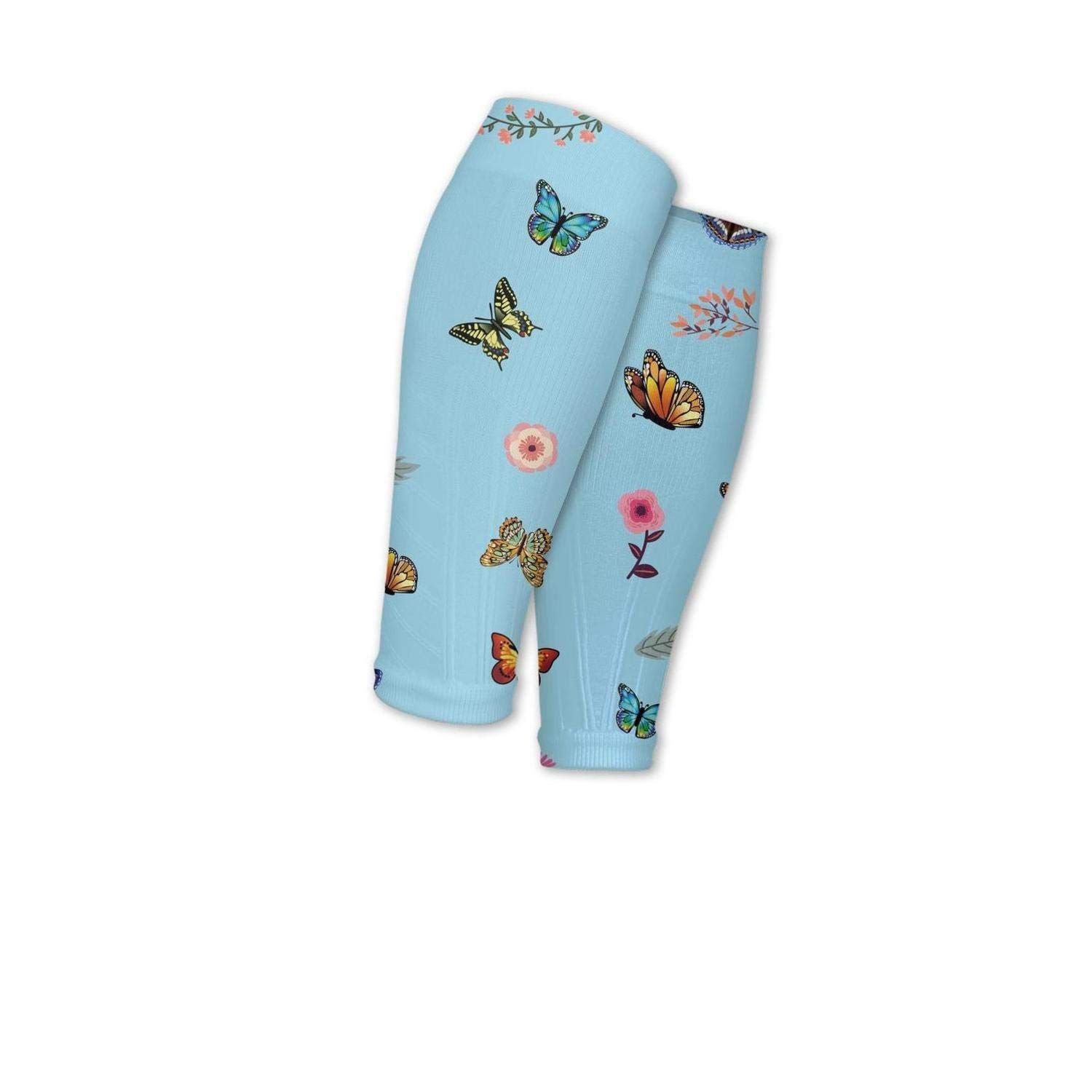Smilelolly blue floral flower butterfly Calf Compression Sleeves Helps Faster Recovery Leg Sleeves for Men Women