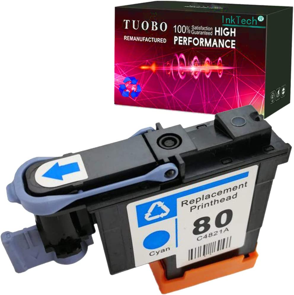 Tuobo Compatible H-P 80 printheads with New Updated Chips fit for H-P DesignJet 1050c 1050c Plus 1055C 1055cm 1055cm Plus (1 Cyan 80 Printhead)