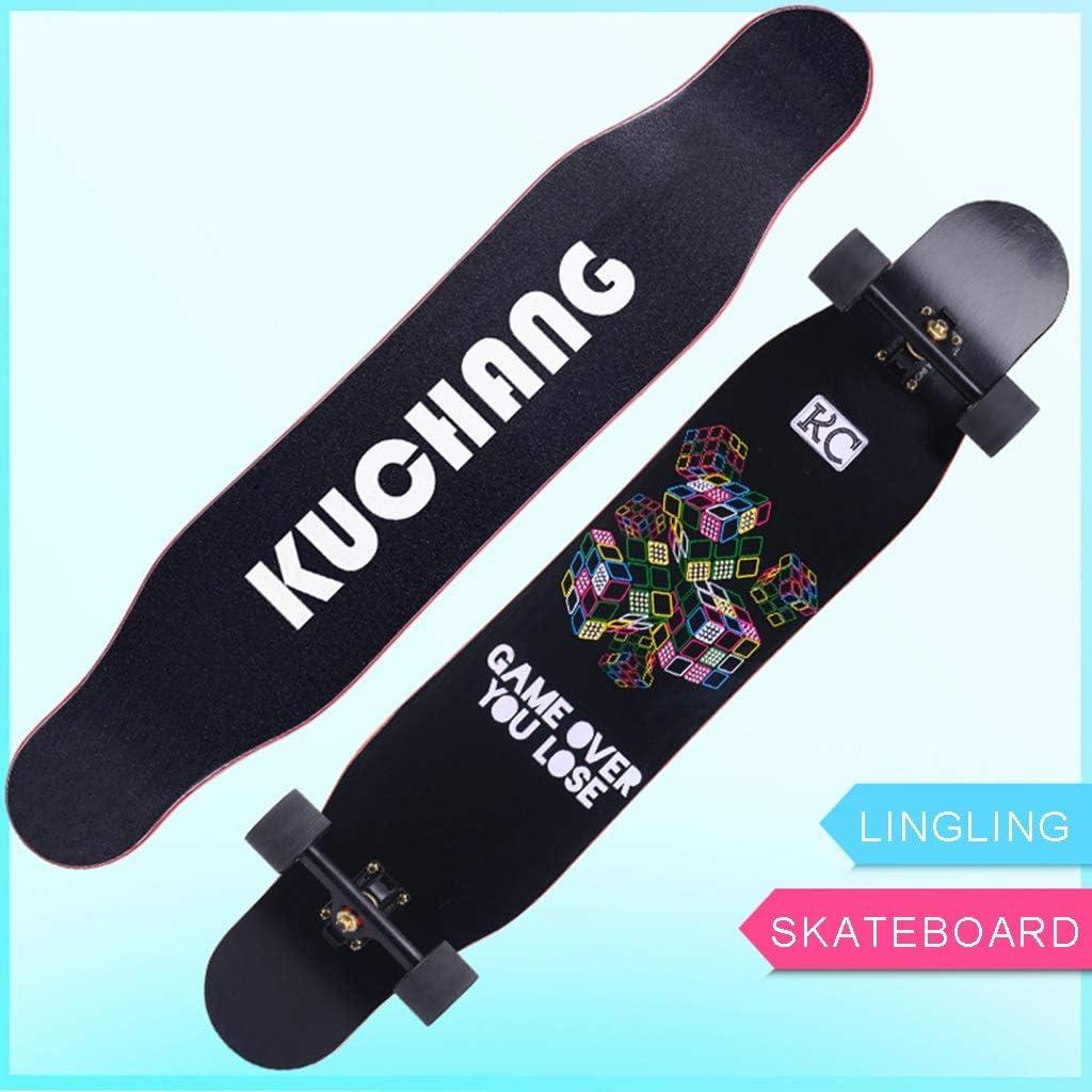 LINGLING-スケートボード ロングボード四輪スケートボードロードダンスボード初心者男の子と女の子のオールラウンドブラシストリート大人 - ブラックキューブ No flash wheel