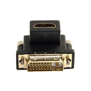 100pcs/bag 90 Grados DVI Macho a HDMI Hembra Adaptador para ...