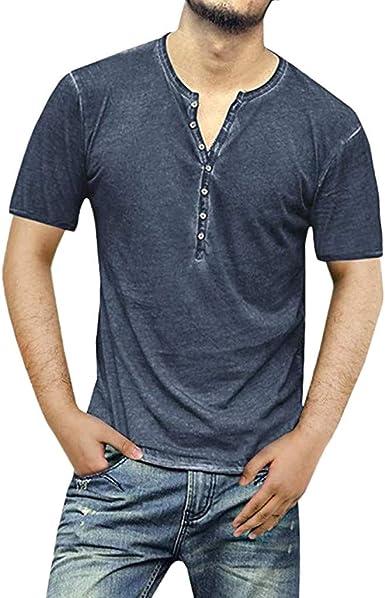 CAOQAO Camisa Hombre Manga Corta Algodón Delgado Sólido de Manga Corta con Cuello en V Botón Camisetas Camisetas Blusa: Amazon.es: Ropa y accesorios