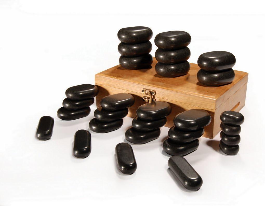 Masajeador de piedras calientes en caja de bambú decorativa 28 unidades