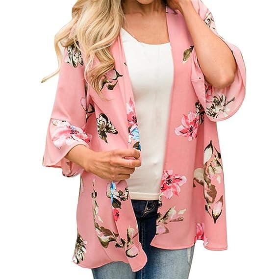 Chal de Gasa,Moda para Mujer Imprimir Kimono Cardigan Top Cover Up Blusa