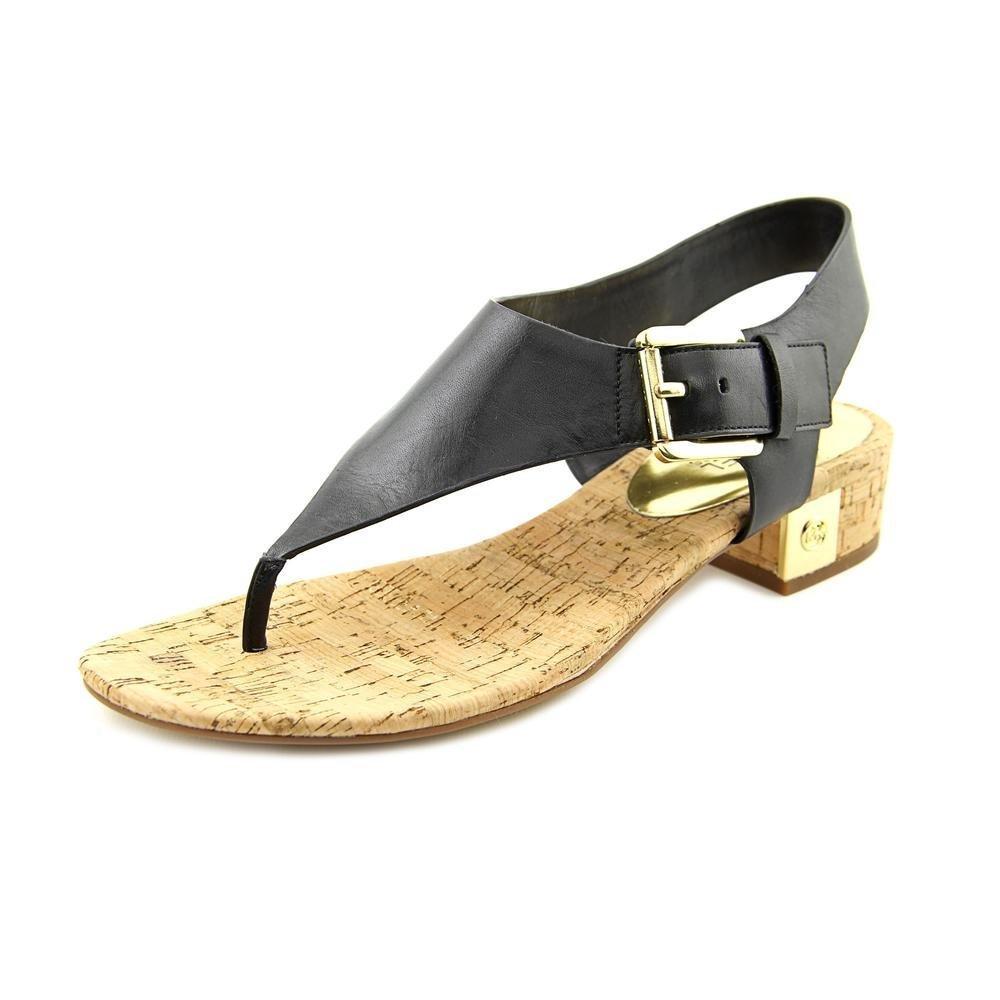MICHAEL Michael Kors Women's London Thong Sandal Black Leather 7.5 M