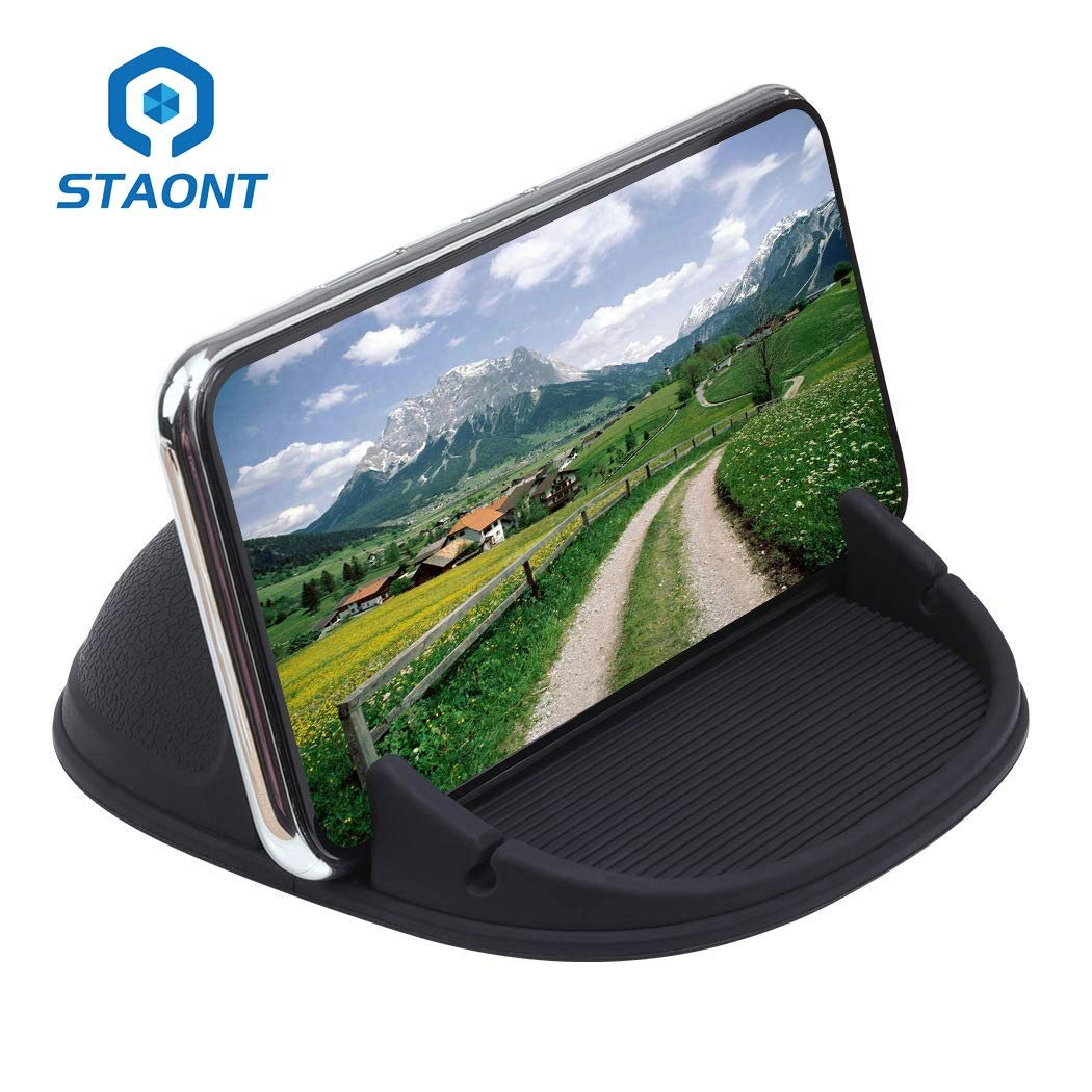 Car Phone Holder, Staont Anti-Slip Silicone Dashboard Car Pad Compatible with iPhone, Samsung, Android Smart Phones, GPS, KGs3 and More by Staont