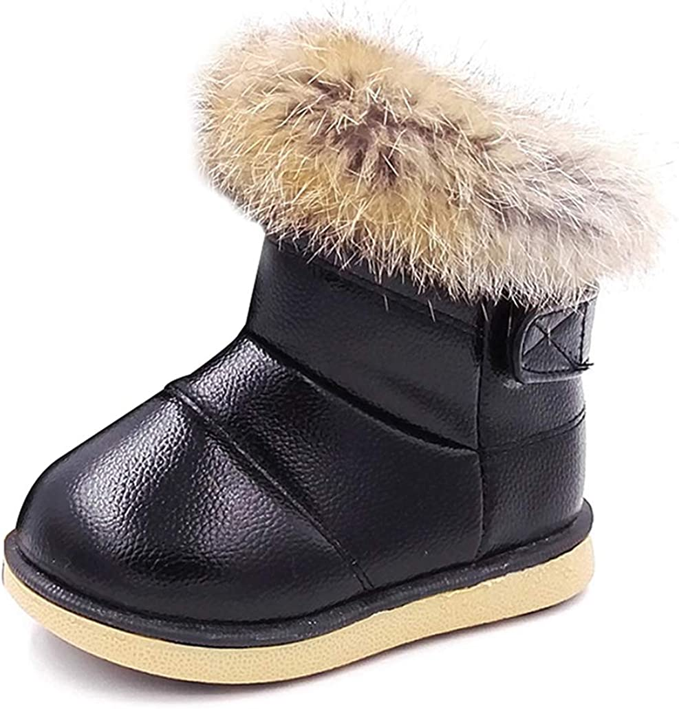 HugRain Warm Winter Snow Boots with Fur Lined Faux for Toddler Kids