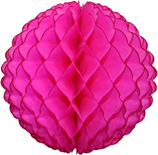product image for 3-Pack 8 Inch Honeycomb Scalloped Tissue Ball Party Decoration (Cerise)