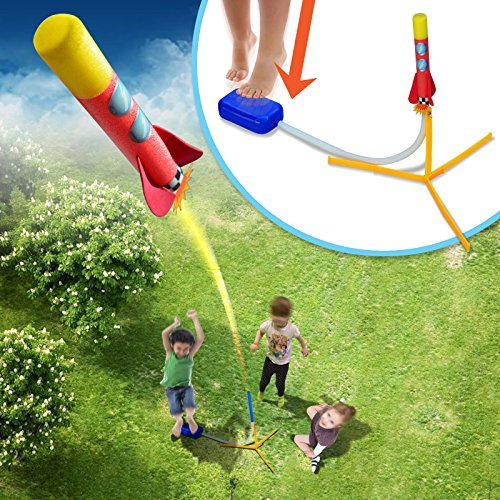 BenefitUSA Kid Child Stomp Rocket Kit Air Powered Indoor Outdoor Play Game 2 - Air Powered Foam Rocket