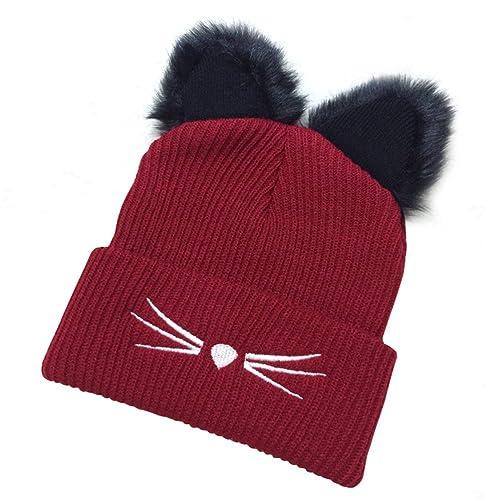 Tinksky Sombrero de invierno de las mujeres del sombrero del gato ganchillo trenzado gorras tejidas ...