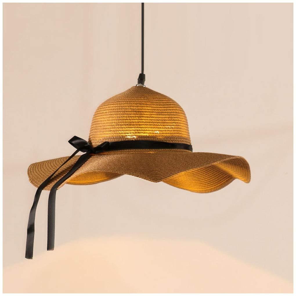 GG_L 現代のシャンデリアシンプルなペンダントライトリビングルームの寝室の天井灯ノルディックラタン麦わら帽子器具レストラン吊りランプ56センチ   B07TVJ55LW