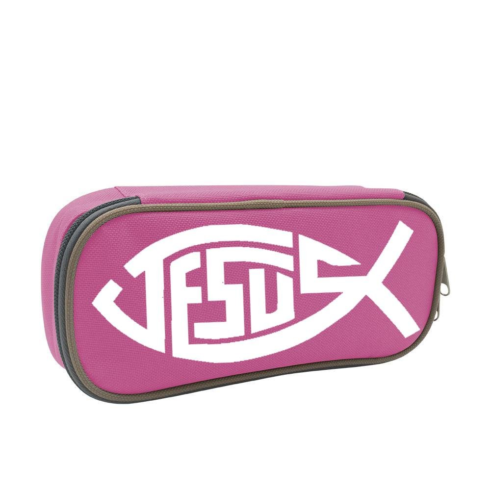 XTQI Jesus Christian Fish Pencil Case,Big Capacity Pen Bag with Double Zipper Pink