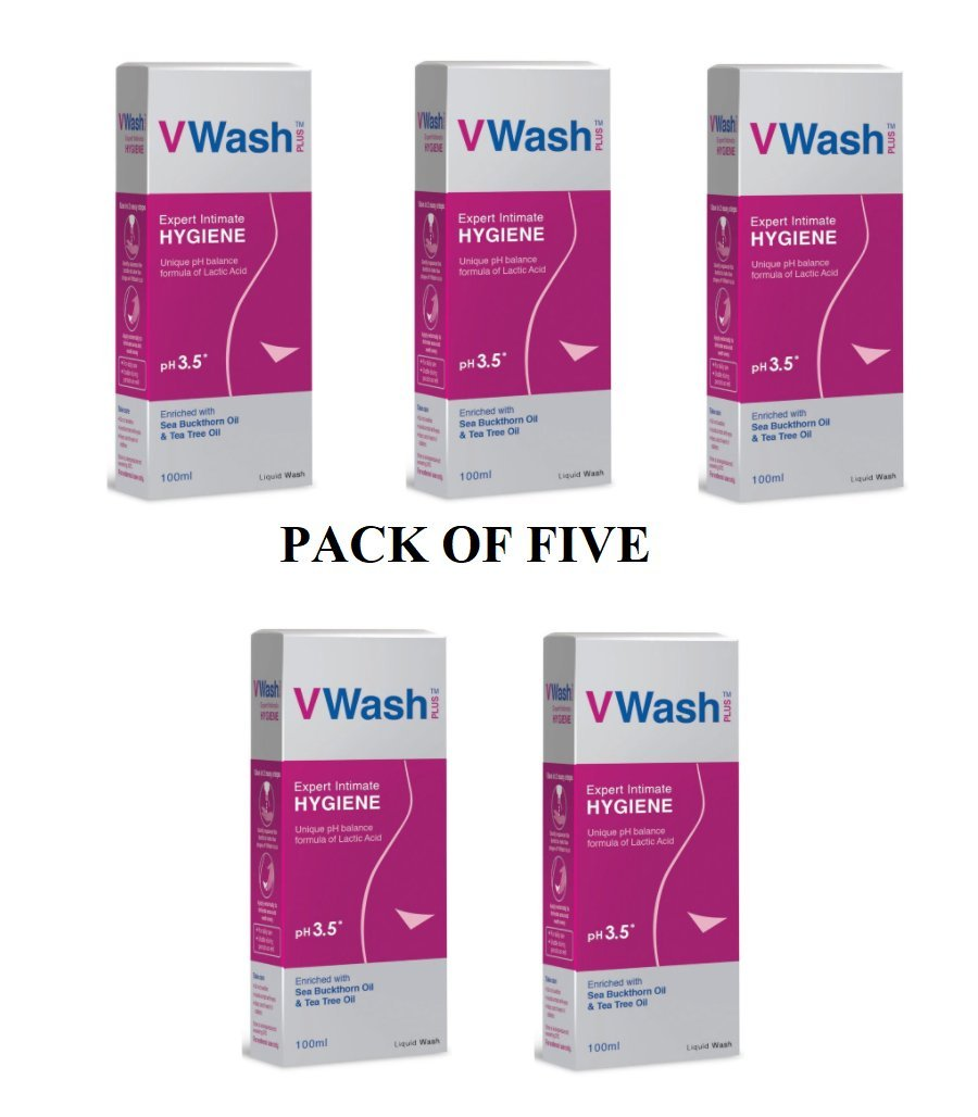 5x VWash V Wash Plus 100 ml - pH 3.5 Hygiene Dryness , excellent intimate wash for girls and womens