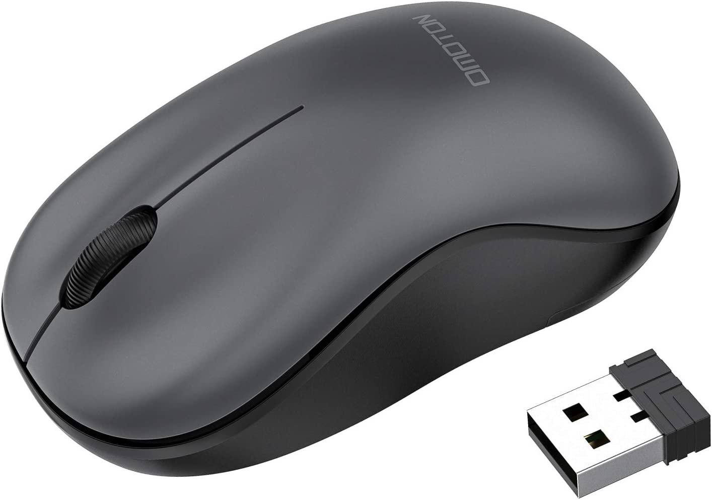 OMOTON Wireless Mouse, 2.4G Wireless Computer Mouse with Nano Receiver for PC, Laptop, Computer, Desktop and MacBook with Windows XP/7/8/10/Vista and Mac OS, Grey