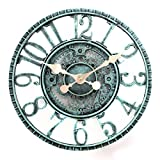 Lily's Home Hanging Wall Clock, Steampunk Gear and Cog Design with a Pewter Finish, Ideal for Indoor or Outdoor Use, Poly-Resin (12 Inches Diameter)